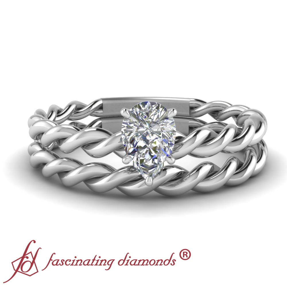 1 2 Ct Pear Shape Diamond Solitaire Allure Twist Wedding Ring Sets