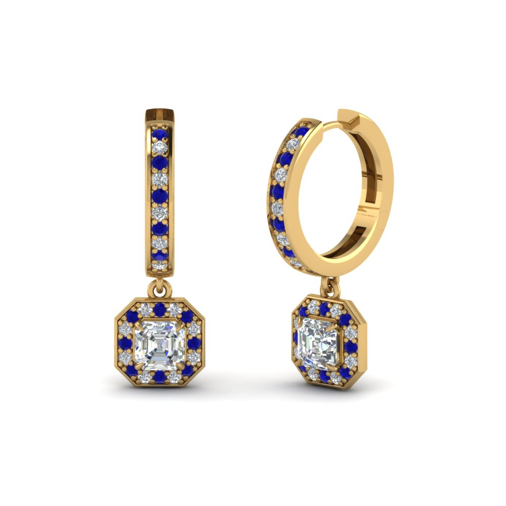 asscher diamond halo drop hoop earrings with sapphire in FDEAR1185ASGSABL NL YG