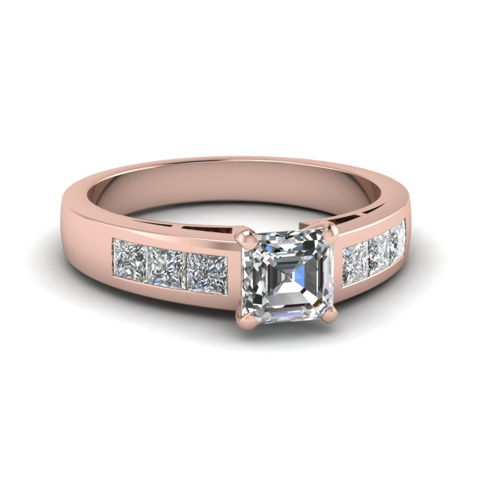 Rose Gold Asscher Diamond Channel Engagement Ring