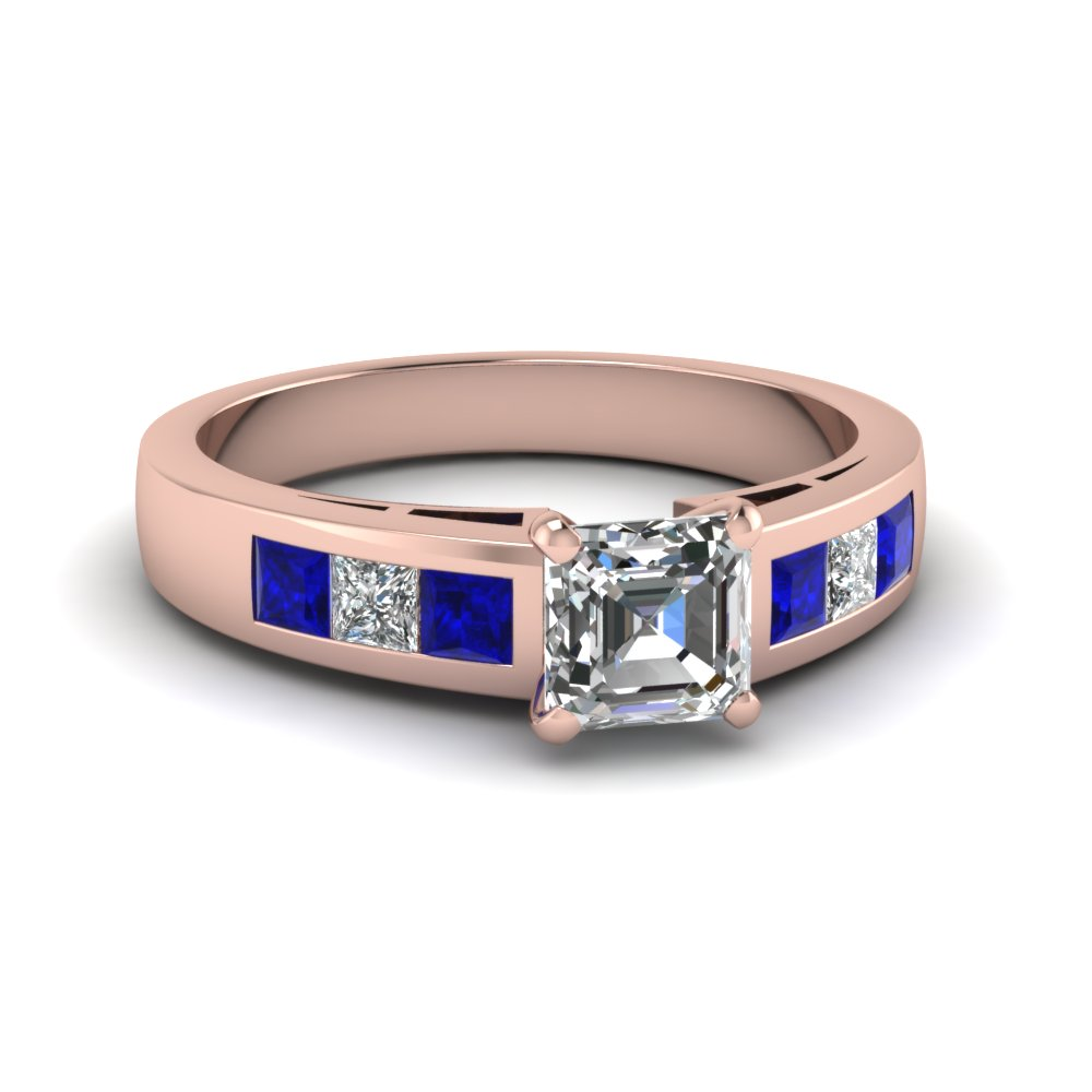 Classic Asscher Cut Diamond Sapphire Engagement Ring
