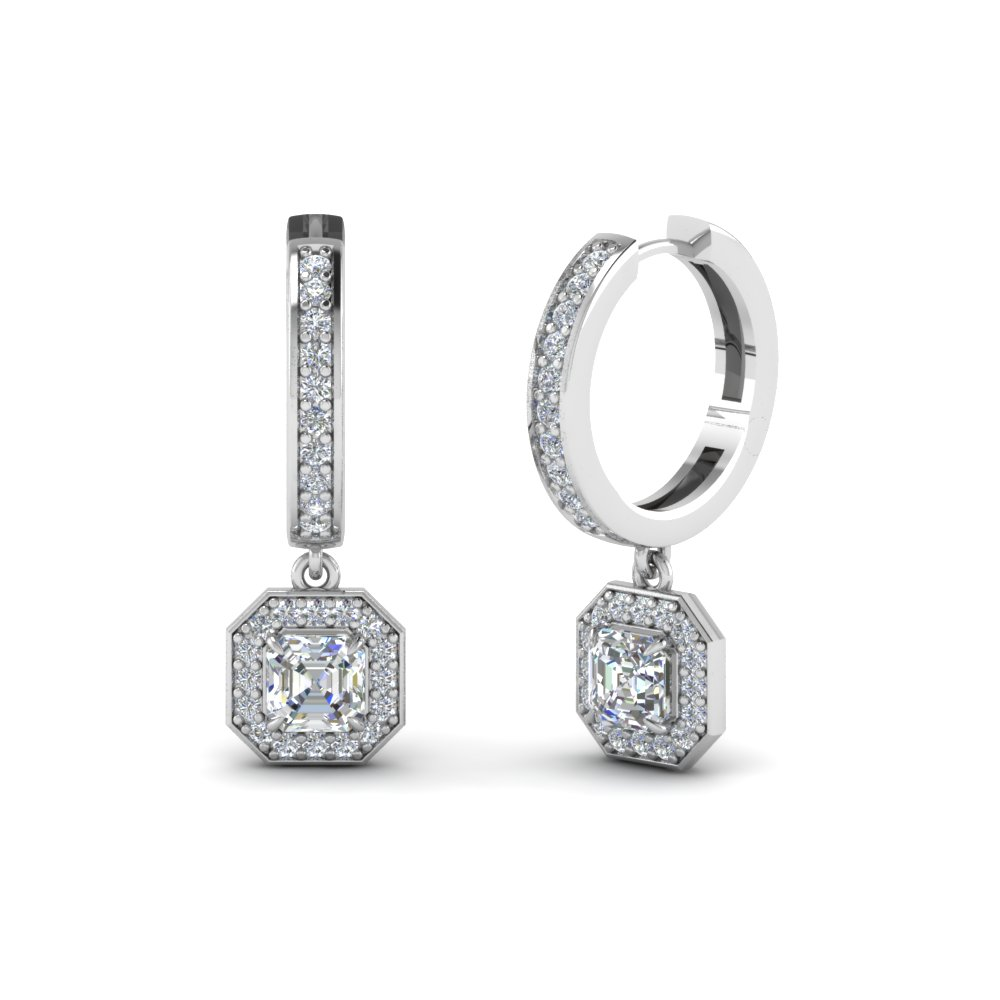 Asscher Cut Halo Diamond Hoops