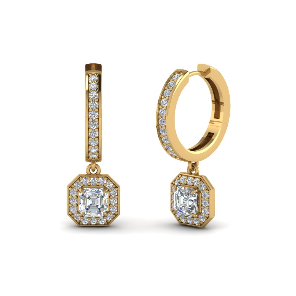 Asscher Cut Halo Hoop Earrings