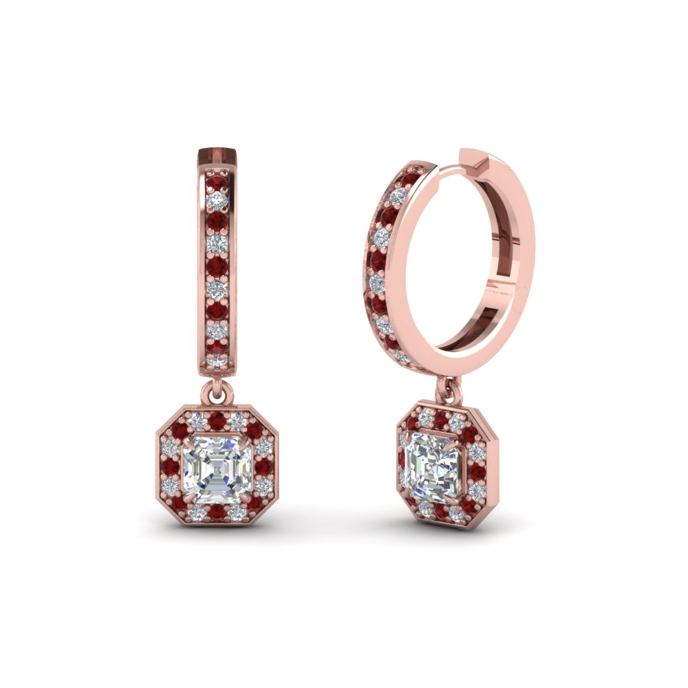 asscher diamond halo drop hoop earrings with ruby in FDEAR1185ASGRUDR NL RG