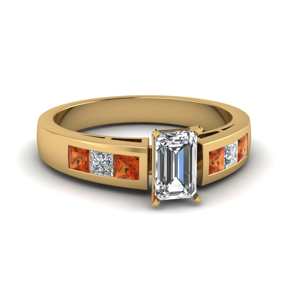Popular Emerald Cut Diamond Sapphire Engagement Ring