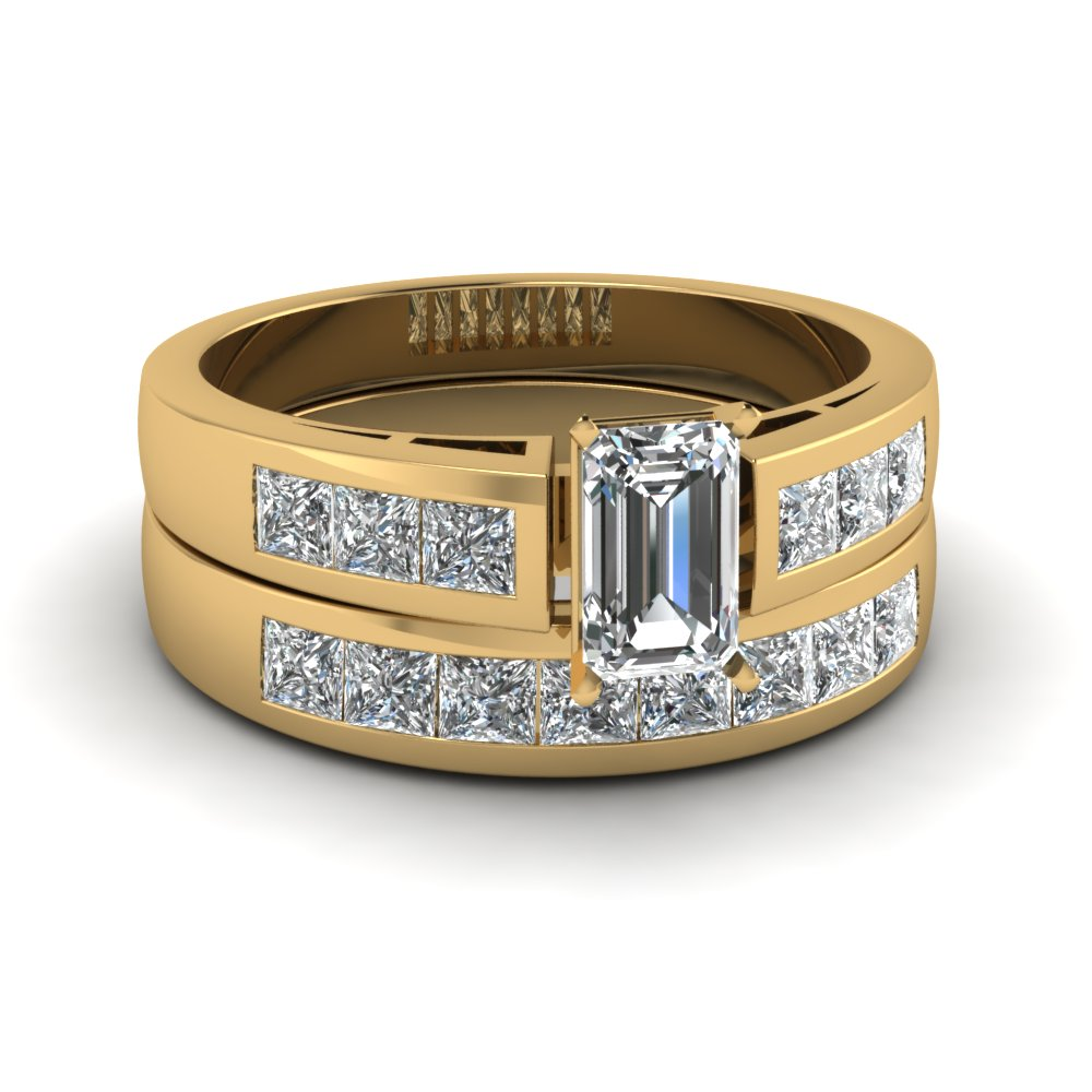 Emerald Cut Channel Diamond Wedding Ring Set In 14k Yellow Gold