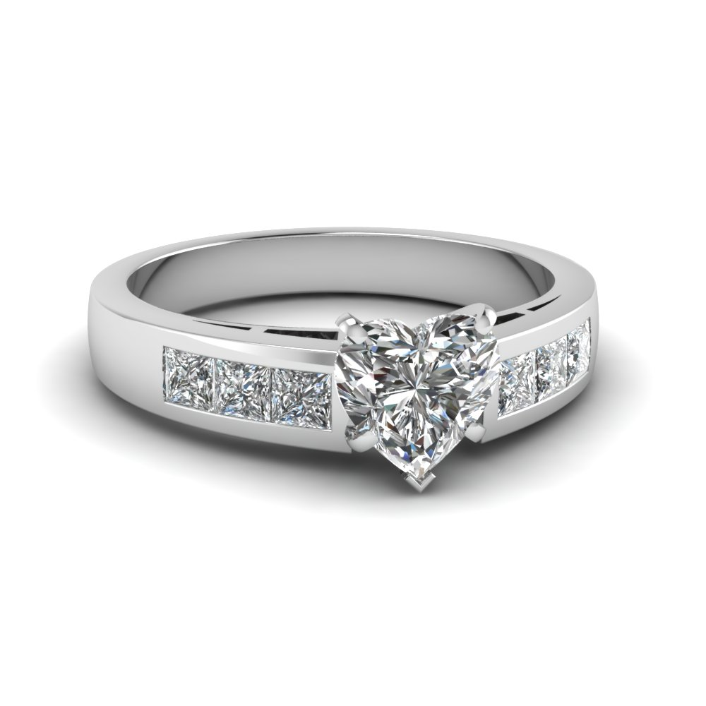 Platinum Heart Shaped Diamond Side Stone Engagement Ring