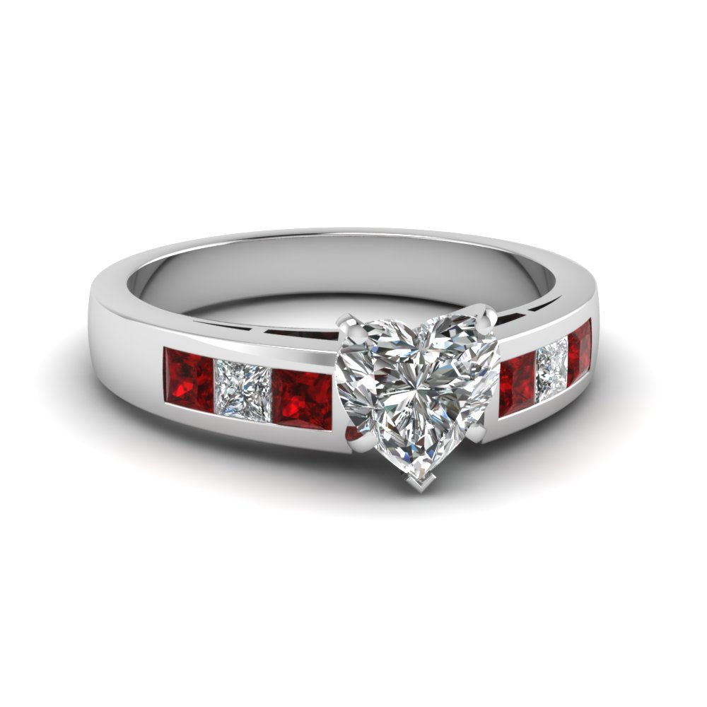 Platinum Heart Shaped Diamond Ruby Engagement Ring