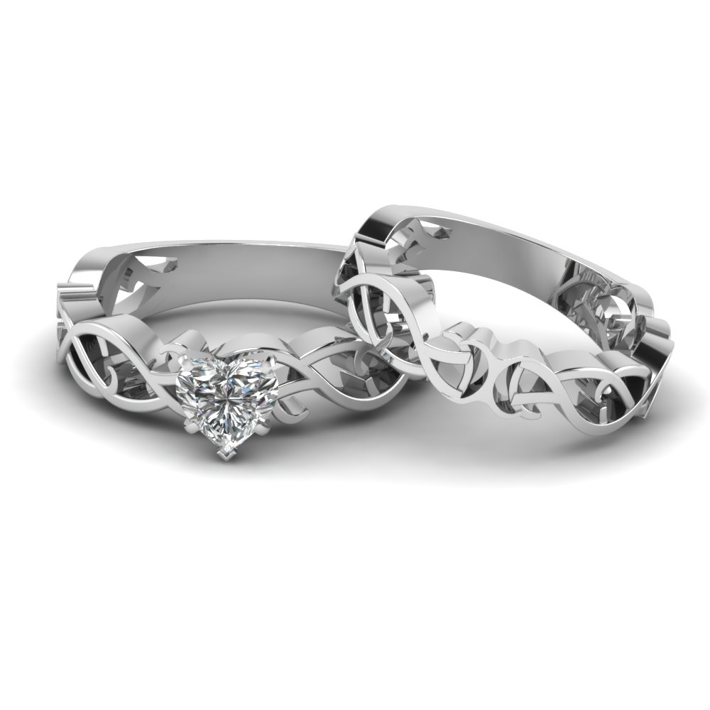 heart shaped diamond intricate grid solitaire wedding set in 14k white gold fdens2246ht nl wg - Heart Wedding Ring Set