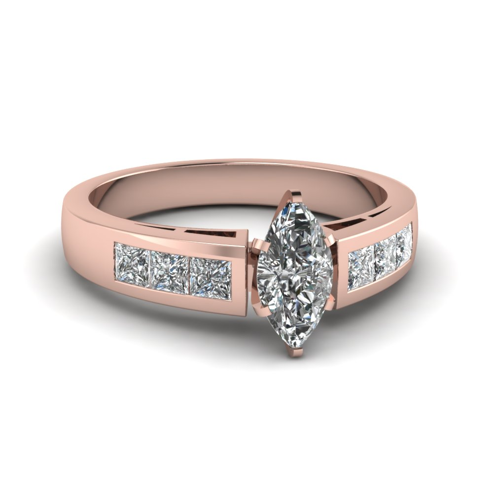 Diamond Accents Rose Gold Marquise Diamond Engagement Ring