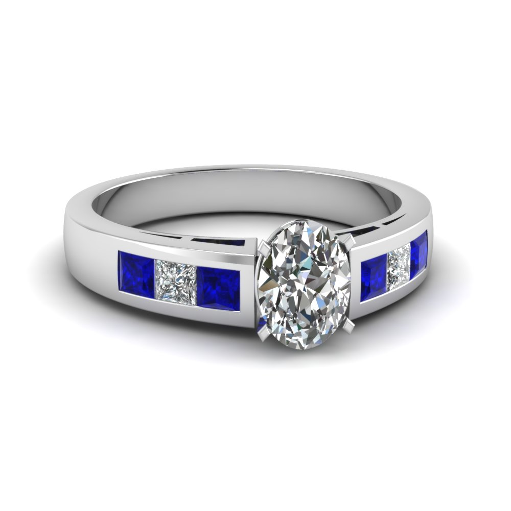 Thick Band Oval Shaped Diamond Sapphire Engagement Ring