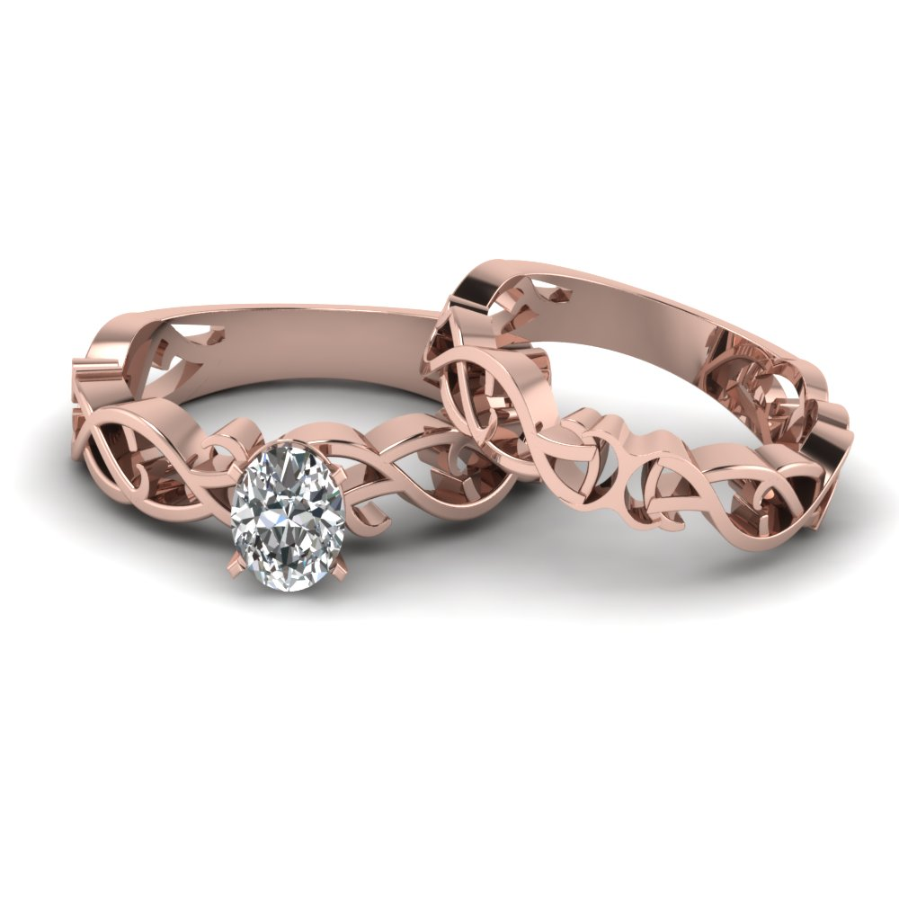 oval shaped diamond intricate grid solitaire wedding set in 14k rose gold fdens2246ov nl rg - Oval Wedding Ring