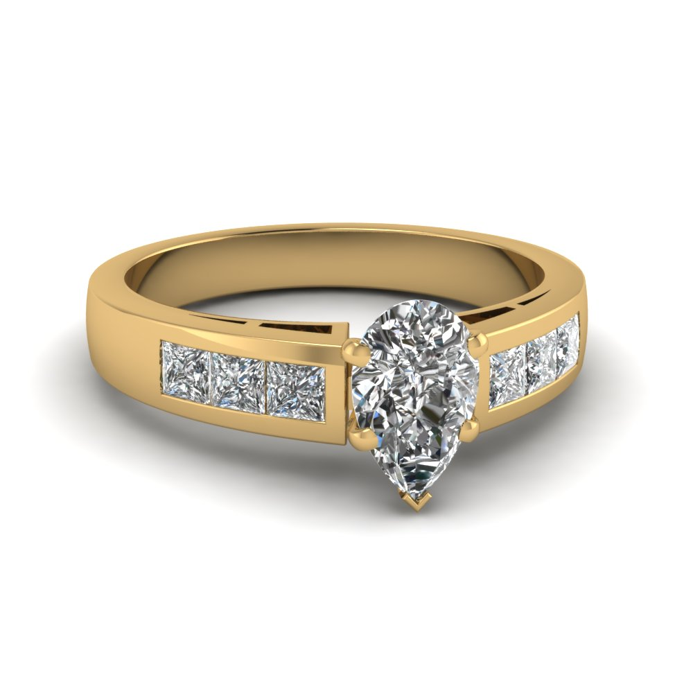 Yellow Gold Pear Shaped Diamond Thick Band Engagement Ring