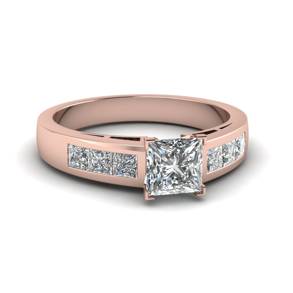 Brilliant Channel Set Princess Diamond Engagement Ring
