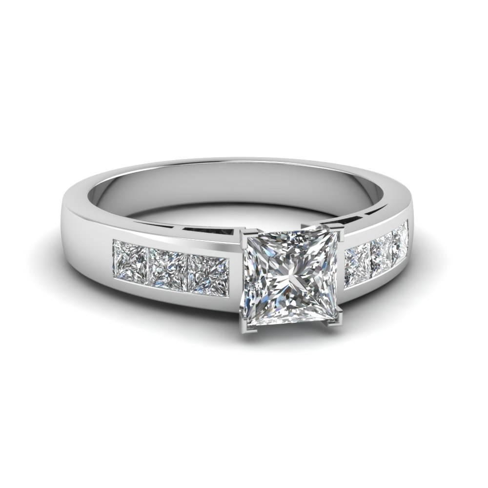 Princess Cut Platinum Side Stone Engagement Rings