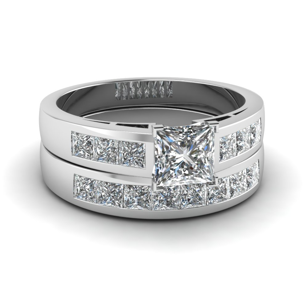 princess cut channel diamond wedding ring set in FDENS167PR NL WG
