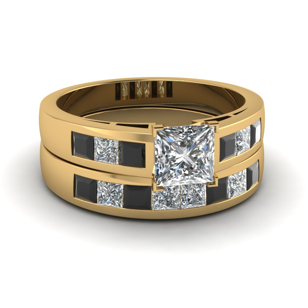 Princess cut channel wedding ring set with black diamond for 18k gold wedding ring set