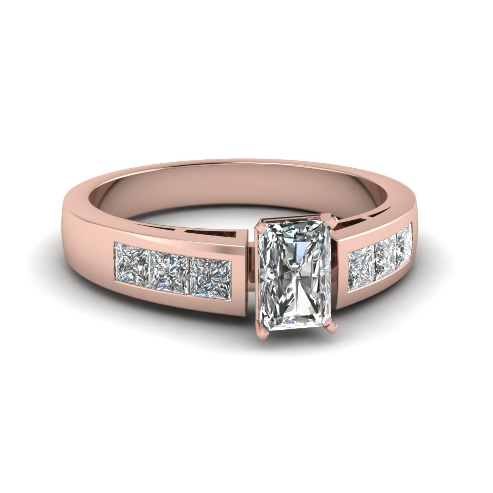 Modern Radiant Cut Diamond Rose Gold Engagement Ring