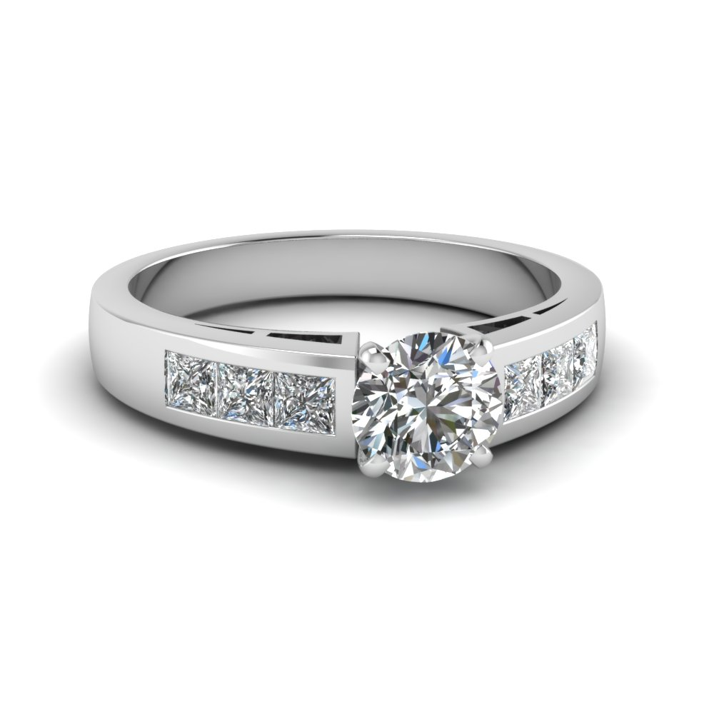 Popular Princess Accents Round Diamond Engagement Ring
