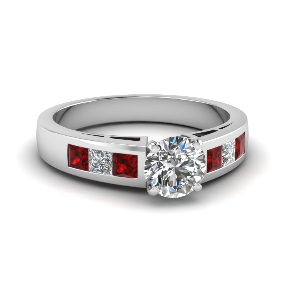 Brilliant Ruby Accented Round Diamond Engagement Ring